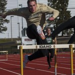 Ilya Pinchuk | Argonaut Adam Bunch clears a hurdle Wedensday afternoon at the Dan O'Brien Track and Field Complex. Idaho travels to Spokane to compete in the Sam Adams Classic Saturday.