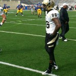 McRoyal before last season's game against San Jose State. McRoyal played in eight games as a Vandal catching six balls for 35 yards.