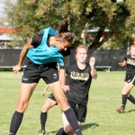 Steven Devine | Argonaut Junior Chelsie Breen heads the ball while defending during Wednesday practice drills at Guy Wicks Field. The Vandals will face Texas State on Friday at 5 p.m. in San Marcos, Texas.