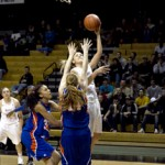 File photo by Steven Devine | Argonaut Alyssa Charlston beats two UT Arlington defenders to the hoop for a Vandal score during a game in Cowan Spectrum. They faced Utah State in Logan Thursday taking a 81-50 loss, while falling to 6-3 in conference play.