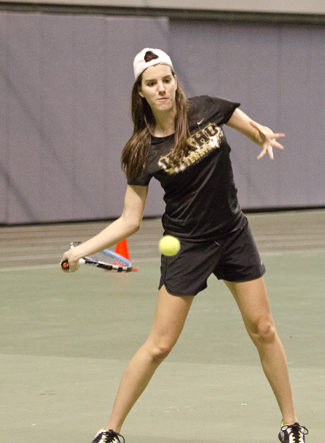 Jesse Hart | Argonaut Almudena Sanz returns a serve during practice Wednesday in the Kibbie Dome. The Vandals, looking for their first win of the spring season, will visit Idaho State on Saturday and Boise State on Sunday.