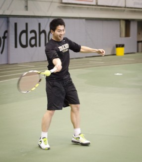 Senior Ivan Krijanto returns a shot from behind the baseline during practice Thursday in the Kibbie Dome. The Idaho men take an unblemished record and No. 57 ITA national team ranking to Missoula. Mont., where the Vandals will play Montana and Montana State.