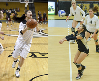 Photos by Philip Vukelich | Argonaut (Left) Senior Janelle Chow participates in pregame drills before Idaho's game against New Mexico State Thursday in the Cowan Spectrum. (Right) Chow, also a former member of the Vandal volleyball team, digs a ball during a Nov. 8 match against La. Tech in Memorial Gym. After helping the volleyball team to a WAC Tournament championship game appearance during her senior season, Chow walked on to the basketball team and has already considered continuing her Vandal athletic career by joining the tennis team following the basketball season.