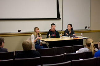 Ricky Scuderi | Argonaut Seniors Julia Workman (left), Rangeland Ecology and Management major, and Athletic Training and Pre-Physical Therapy students John Wakkinen (center) and Michelle Mollison (right) talk to students about what to expect when taking the Graduate Records Examination in the Teaching and Learning Center Wednesday. Workshops have taken place around campus to help students prepare for the GRE.