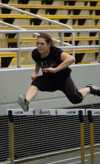 File photo by Tony Marcolina | Argonaut  Johanna Hocketstaller practices hurdles Feb. 7 in the Kibbie Dome. Hocketstaller finished second in the heptathlon during the WAC Indoor Championships.