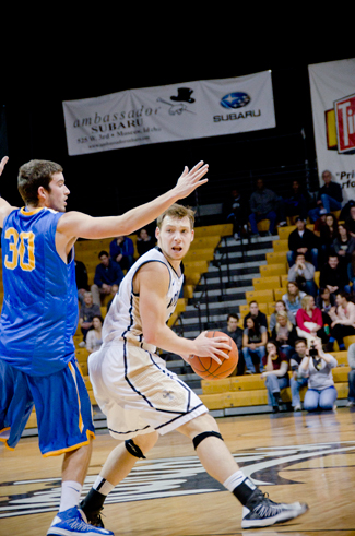 File photo by Amrah Canul | Argonaut Vandal guard Connor Hill looks for a pass while San Jose State's Nick Grieves defends, Feb. 2 in the Cowan Spectrum. The Vandals allowed a late turnover and New Mexico State upended Idaho Thursday in Las Cruces.