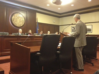 Emily Johnson | Argonaut Peter Crabb, Financial and Economics Professor at Northwest Nazarene University, presents his findings on Personal Property Tax to the Senate Local Government and Taxation Committee on Feb. 26.