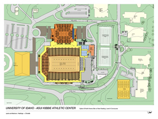 UI Athletic Department | Courtesy A tentative six-year plan includes a 6,000-seat event center (in orange) to be built at the north end of the Kibbie Dome. If the center is built, it would create renovation options for the Dome including roof removal. An indoor practice and track facility (left, in yellow) could be built west of the Dome.
