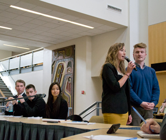 Abi Stomberg | Argonaut Presidential candidate Max Cowan and Vice Presidential candidate Taylor Williams discuss their potential roles in ASUI. Candidates for next year's ASUI president, vice president and senate spoke at an open forum Thursday in the Idaho Commons.
