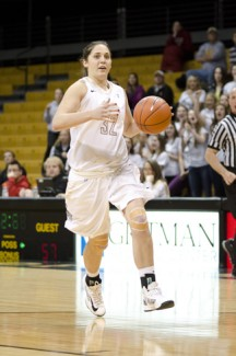 Idaho guard Ana Overgaard drives for a bucket against Texas State Saturday in the Kibbie Dome. The Vandals won 72-59 and will be the No. 3 seed at the WAC Tournament.