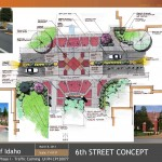 Parking and Transportation | Courtesy Initial design for crosswalk renovation on 6th Street in front of the Theophilus Tower. Initial plans are subject to change.