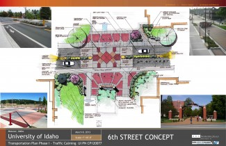 Parking and Transportation   Courtesy Initial design for crosswalk renovation on 6th Street in front of the Theophilus Tower. Initial plans are subject to change.