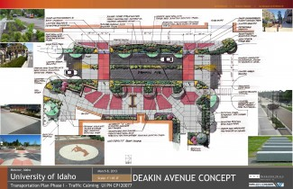 Parking and Transportation   Courtesy  Initial design for crosswalk renovation on Deakin Street between the SUB and the VandalStore. Construction will begin the Monday directly following Spring Commencement 2014. Initial plans are subject to change.