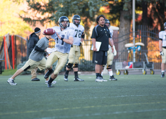 Tony Marcolina | Argonaut Quarterback Chad Chalich surveys the field during practice Wednesday on the SprinTurf. The Vandals travel to Jonesboro, Ark., Saturday to face future conference opponent Arkansas State.