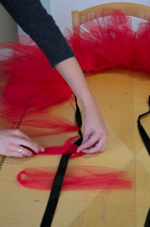 abi stomberg | rawr A hand-made tutu can be created with three easy steps, scissors, ribbon and tulle. Sam Kennedy models the hand-made tutu.