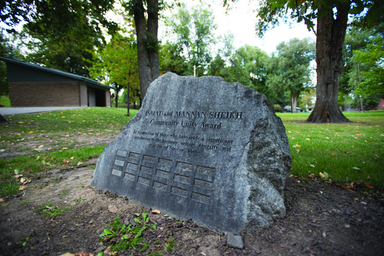 Philip Vukelich | Argonaut The Ismat and Mannan Sheikh Community Unity Award rock displays recent winners at its location in East City Park in Moscow. The award recognizes significant contributions to the Moscow community. Award winners will be announced Nov. 7