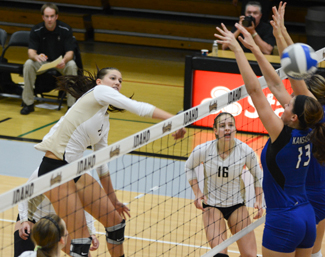 Tony Marcolina | Argonaut Outside hitter Ashley Christman hits a spike during Thursday's match against Missouri-Kansas City at Memorial Gym. The Vandals beat the Kangaroos in a 3-0 victory, breaking a two-game losing streak.