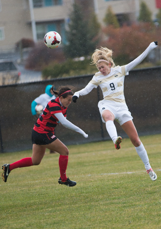 File photo byTony Marcolina | Argonaut Idaho's Kaysha Darcy and Seattle's Mary Hill go for a header during Sunday's game against Seattle U at Guy Wicks Field. The Vandals lost a 3-1, but will have another chance against Seattle in the WAC Championships Friday, Nov. 8 at Las Cruces, N.M.