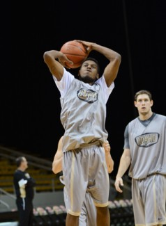 Tony Marcolina   Argonaut Point guard Sekou Wiggs shoots the ball during practice Thursday at the Cowan Spectrum. The Vandals will take on Washington State at 7 p.m. Saturday, playing for the first time in the Cowan Spectrum this season.
