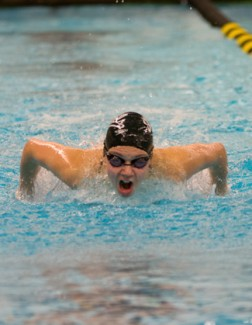 File photo by Tony Marcolina | Argonaut Idaho swimmers compete in the butterfly on Oct. 18 against Northern Colorado at the UI Swim Center. The Vandals competed in the U.S. Short Course Nationals and the Husky Invitational over the weekend.
