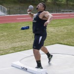 Josiah Whitling | Argonaut Freshman Juan Medina Cuence practices shot put in preparation for the Vandal Jamboree taking place this weekend. The track and field program can clinch the Commissioner's Cup for Idaho this spring.