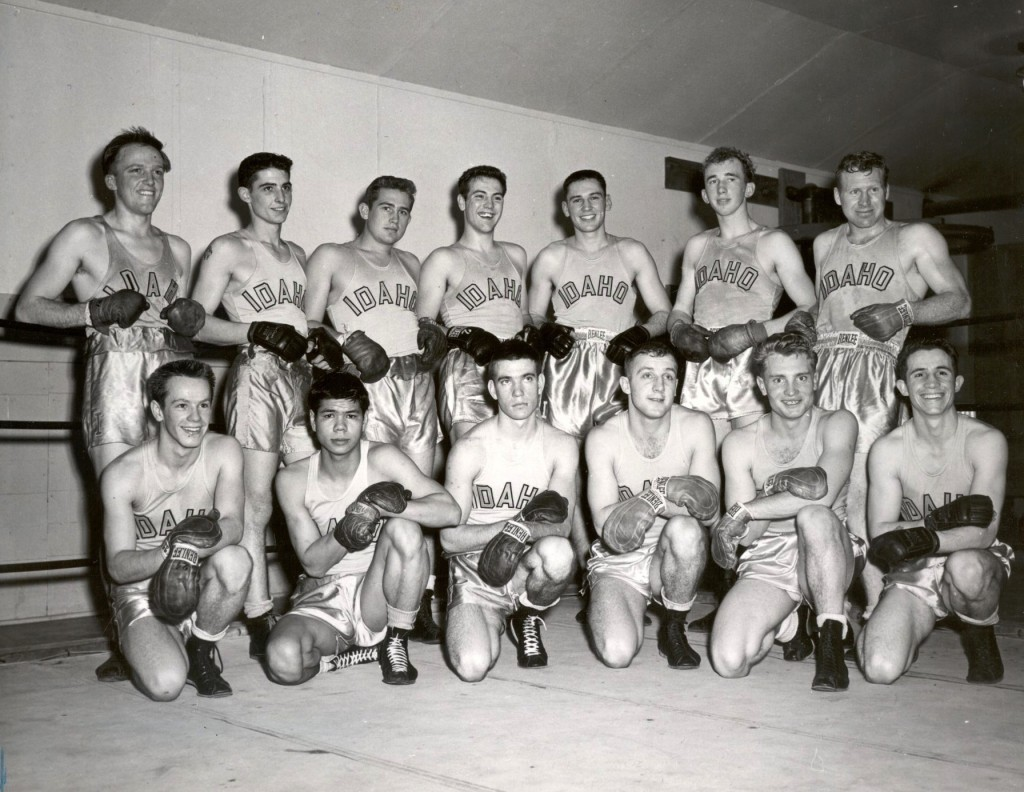 Echevarria (bottom right) poses with the 1951-52 Idaho boxing team.