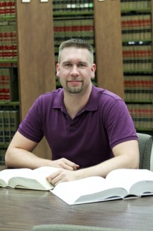 Katy Kithcart   Argonaut Graduating Law Senior, Austin Beaumont, studies in the Law Library. After spending three years at the University of Idaho, Beaumont prepares to leave for a job in Las Vegas.