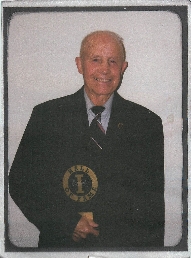 Frank Echevarria poses for a picture after being inducted into the Idaho Athletics Hall of Fame in 2007. Echevarria won a national championship in 1952 and now lives in Blackfoot, Idaho, with his wife Norma. Photo courtesy | Frank Echevarria