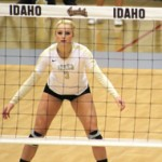 Brandon Miller   Argonaut Sophomore defensive specialist Terra Varney prepares to receive a serve during Idaho's 3-0 victory over Northern Arizona Oct.1 in Menmorial Gym. The Vandals lost 3-2 Thursday at Portland.
