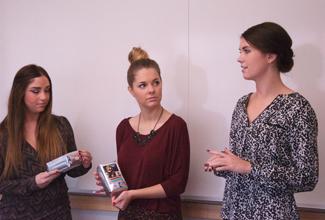 Jackson Flynn | Argonaut The Vandal Solutions team, Ashley Garber (left), Emily Lanterman, and Nichole Pagano(right), help bring a new Moxie Java flavor of coffee to UI.