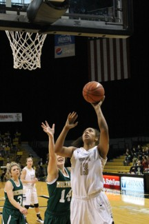 Junior post Ali Forde attempts a layup in Idaho's 104-19 win over Multnomah Sunday in the Cowan Spectrum.