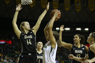 Baylor Marketing and Communications | Courtesy Senior post Maren Austgulen attempts a block during Idaho's 88-70 loss to No. 9 Baylor, Wednesday at Waco, Texas.
