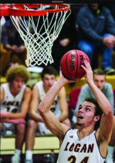 Tyler Brimhall | Courtesy Tyler Brimhall takes the ball to the rim Nov. 25 against Hunter High School. Brimhall a senior at Logan High School in Logan, Utah is Idaho's first basketball commit for the 2015 class.