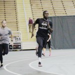 Andrew Jenson | Argonaut  Sprinters Paul Matejcek (left) and Benjamin Ayesu-Attah (right) prep for the 2015 track and field indoor season. Ayesu-Attah participated in the 2014 indoor season, in which he earned two first-team All-WAC honors and one Second-Team All-WAC honor.