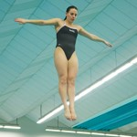 Nathan Romans | Argonaut  Freshman diver Hailey Kessler warms-up for the exhibition diving event after the conclusion of Idaho's 153-88 loss to Utah Saturday in the UI Swim Center. Idaho will compete in the WAC Championship Monday, Feb. 23, in San Antonio, Texas.