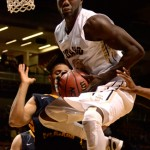 Idaho forward Bira Seck rebounds the ball during the game against Northern Colorado Jan. 24 at the Cowan Spectrum in Moscow. The Vandals fell at Montana 70-56 over the weekend.