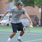 File Photo by Nathan Romans | Argonaut  Freshman Felipe Fonseca returns a volley Oct. 1 during practice at the Memorial Gym tennis courts. Fonseca was one of the two Vandals to go undefeated in singles play over the weekend.