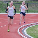 Nathan Romans | Argonaut  Sophomore distance runner Ally Ginther competes in the 3000-meter run during the Mike Keller Invitational Saturday at the Dan O'Brien Track and Field Complex in Moscow. The meet was Idaho's first outdoor competition of the season.