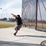 Senior Al Taylor practices his hammer throw Thursday at the Dan O'Brien Track and Field Complex in preparation for Saturday's meet.