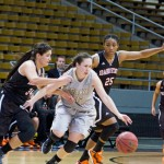 Junior guard Connie Ballestero steals the ball during Idaho's 77-53 win against Idaho State Saturday at the Cowan Spectrum.