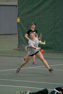 Sophomore Galina Bykova returns a volley with teammate Sophie Vickers Feb. 17 at practice in the Kibbie Dome. Bykova is undefeated in Big Sky singles play heading into the final month of the season.
