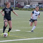 File photo by Nathan Romans   Argonaut  Forward Josilyn Daggs dribbles down the field during Idaho's 1-1 tie with Gonzaga March 28 on the SprinTurf. The Vandals beat Spokane Falls Community College 5-0 on Tuesday.