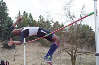 File photo by Nathan Romans | Argonaut Senior high-jumper Emmanuel Panchol fails to clear the bar during the Mike Keller Invitational Saturday at the Dan O'Brien Track and Field Complex in Moscow.
