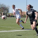 Junior forward Reagan Quigley fights with a NIC player for the ball during Idaho's 2-0 victory against NIC Sunday at the SprinTurf. Idaho closes the Spring this weekend with a 7-on-7 tournament at Gonzaga.