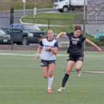 Midfielder Chloe Bell chases down a pass during Idaho's 1-1 tie with Gonzaga March 28 on the SprinTurf. The Vandals split weekend games with a win over Corban and a loss to Concordia Saturday in Portland.