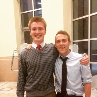 Max Cowan | Courtesy ASUI President-elect Max Cowan stands alongside Vice President elect Stetson Holman Wednesday evening in the Idaho Commons moments after the final vote count was announced.