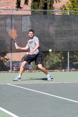 Kira Hunter | Argonaut University of Idaho Men's Tennis player Odon Barta prepares to return swing at Wednesday's practice on the Memorial Gym's tennis courts.