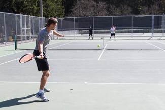 Kira Hunter   Argonaut  University of Idaho Men's Tennis player Odon Barta prepares to swing during Wednesday's practice on the Memorial Gym tennis courts.