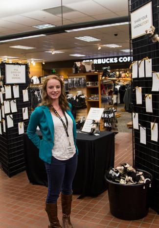 Kira Hunter | Argonaut Meredith Breen, Vandal Store representative, stands in front of the ongoing Vandalstory project.
