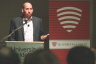 "Irish Martos | Argonaut University of Idaho philosophy professor Bert Baumgaertner discusses purpose and beliefs at The Veritas Forum's ""Why Are We Here?"" Thursday in the Idaho Commons."